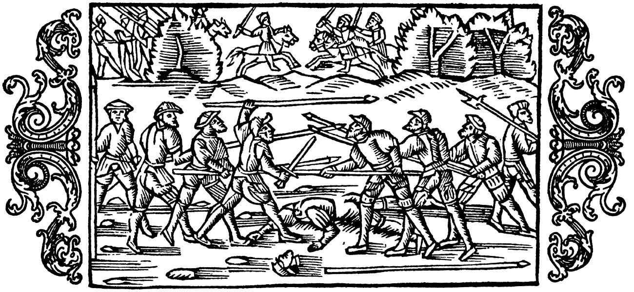 Olaus Magnus Historia om de nordiska folken. Bok 8 - Kapitel 21 - Om mångahanda slag af krigare. - Utgivningsår 1555.
